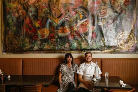 Concord, MA - 3/20/2018 - Owner Kristin Canty and chef Charlie Foster(R) sit at a table at Adelita in Concord, MA, Mar. 20, 2018. (Keith Bedford/Globe Staff)